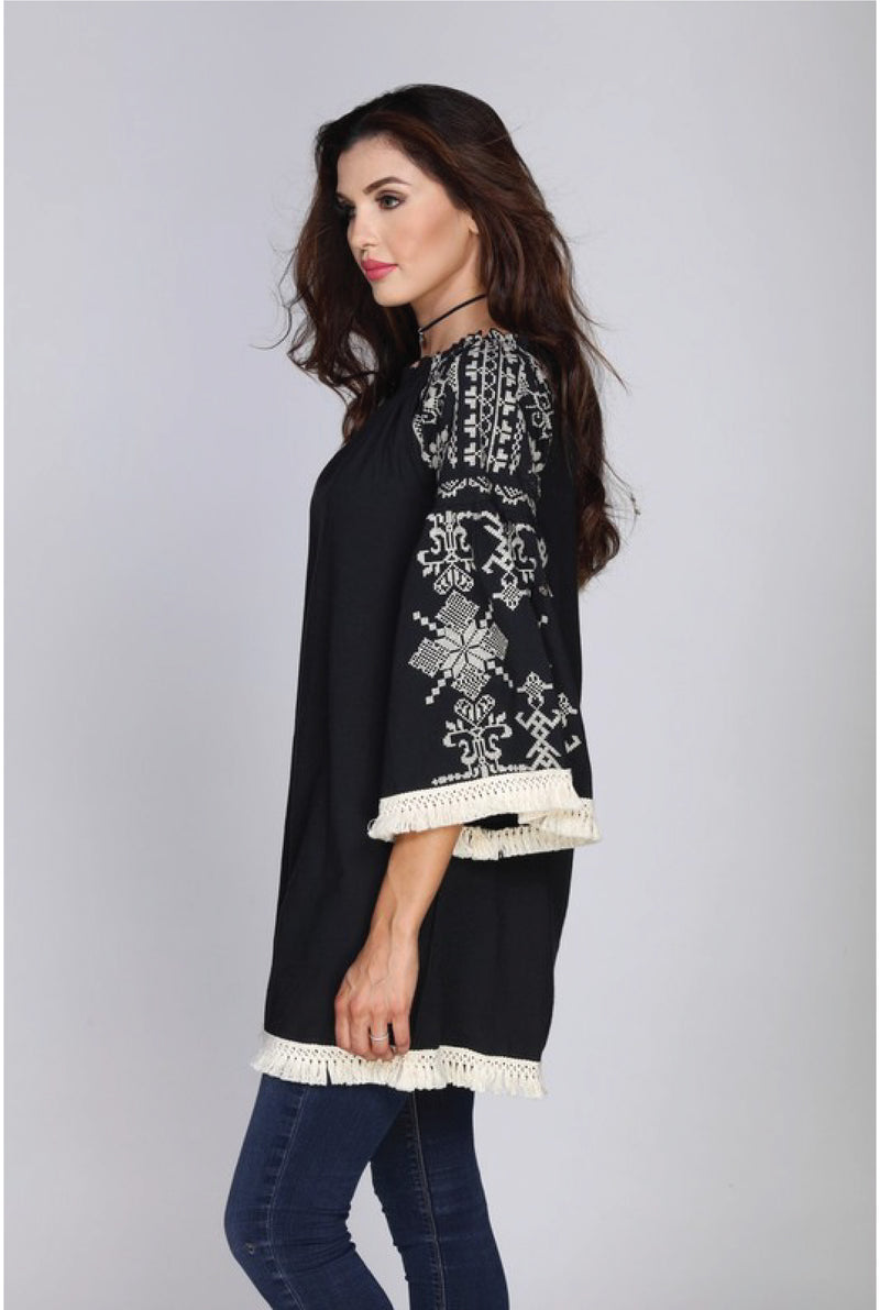 Sofia Embroidered Dress - Tucker Brown