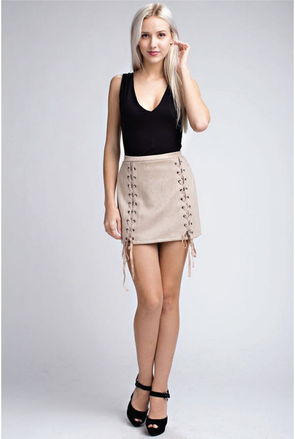 Tie Me Down Suede Skirt - Taupe - Tucker Brown