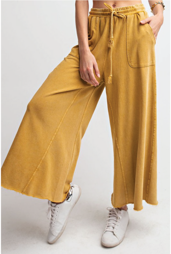 Terry Washed Wide Leg Pants - Mustard - Tucker Brown