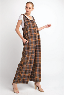 Totally Plaid Jumpsuit - Tucker Brown