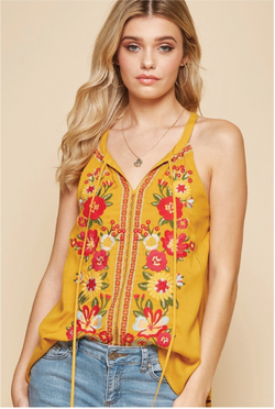 Carnation Embroidered Tank - Mustard - Tucker Brown