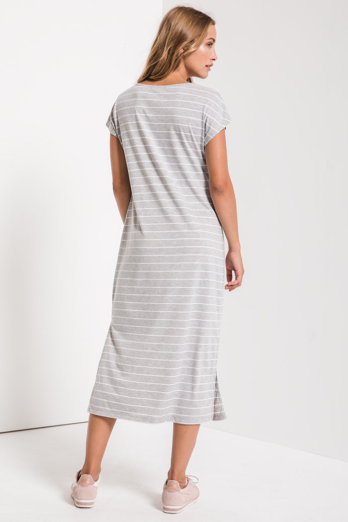 Z Supply - Stripe Midi Dress - Heather Grey - Tucker Brown