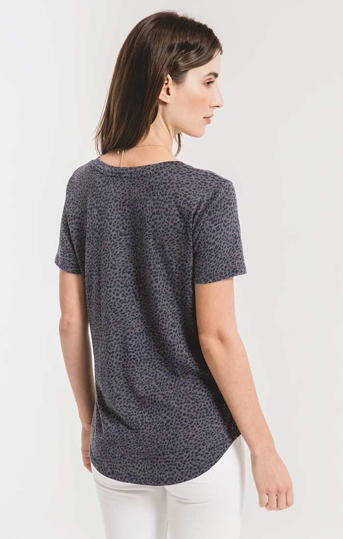 Mini Leopard V-Neck Tee - Charcoal - Tucker Brown