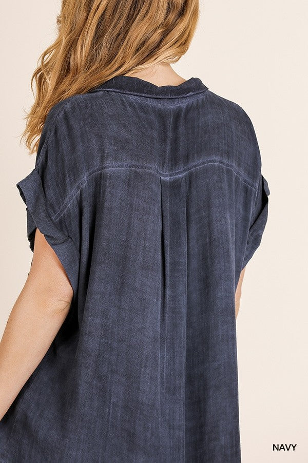 Blakley Button Up Top - Navy - Tucker Brown