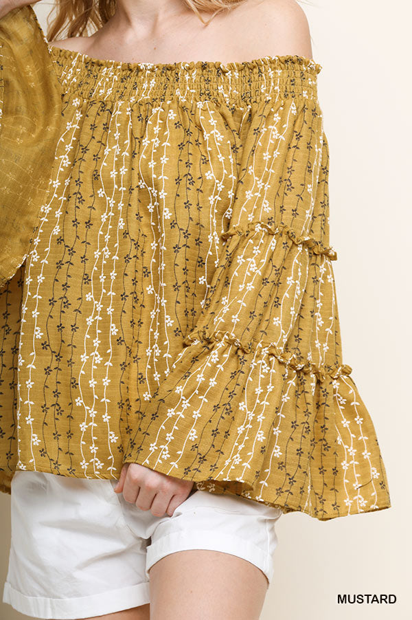 Marigold Bell Sleeve Top - Mustard - Tucker Brown