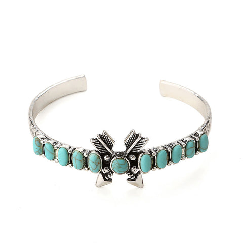 Boho Arrow and Turquoise Cuff Bangle