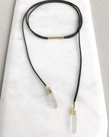 clear quartz crystal leather lariat necklace