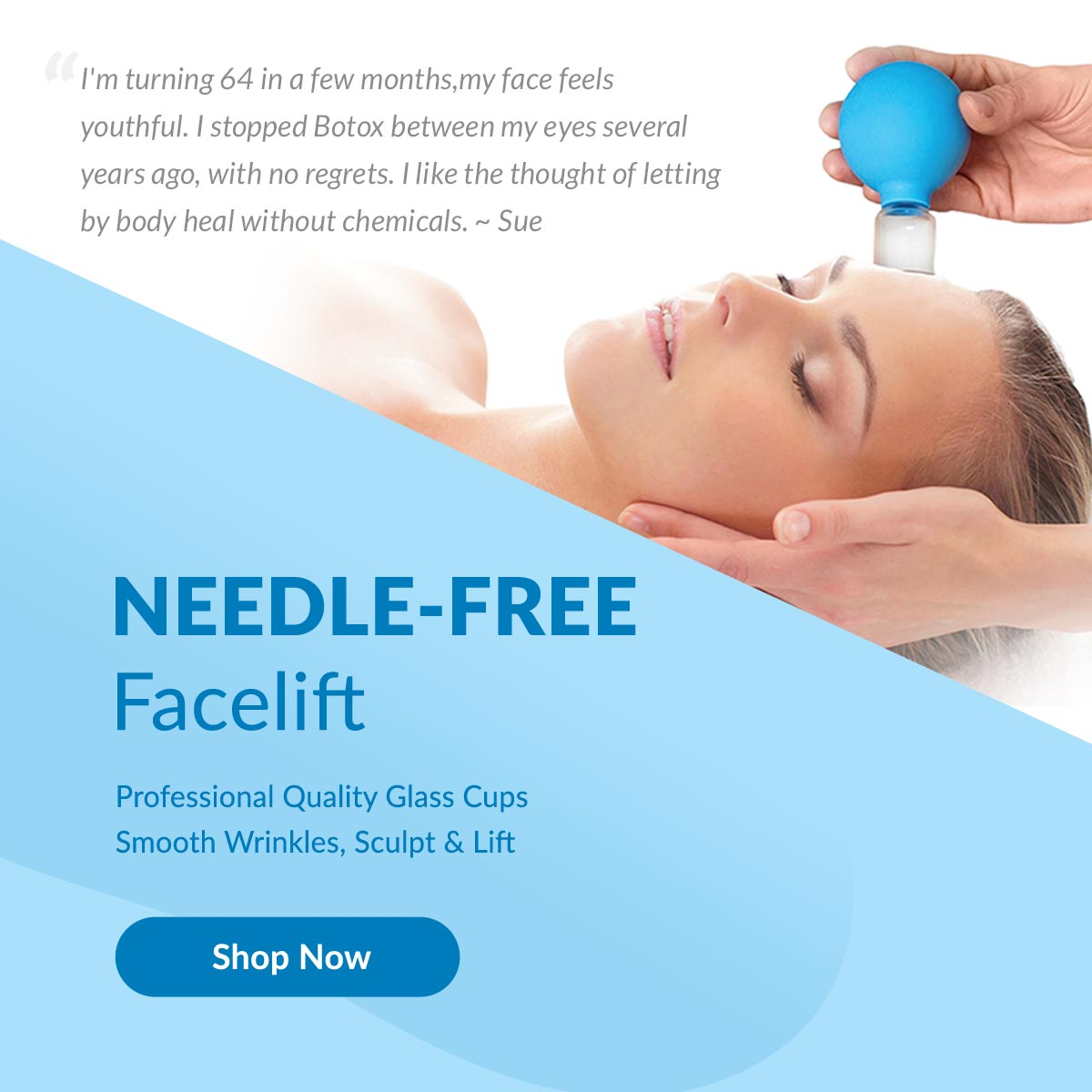 Woman with facial cupping - Needle-Free Facelift