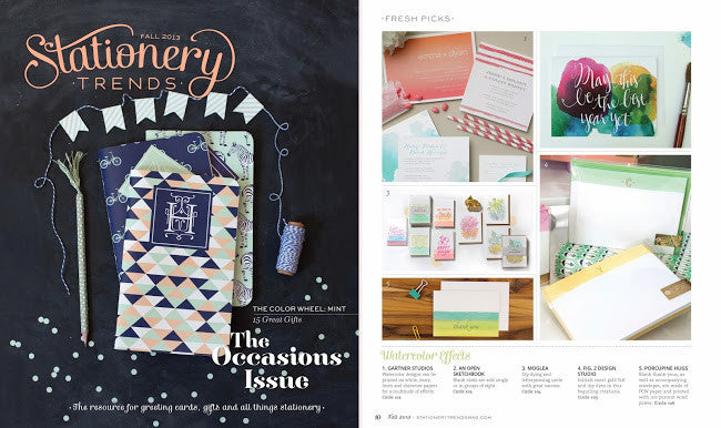 Porcupine Hugs in Stationery Trends Fall 2013 Issue