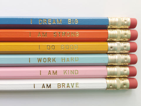 Positive Affirmations Gold Foil Pencils – Set of 6