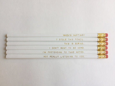 Irreverent Gold Foil Pencils – Set of 6