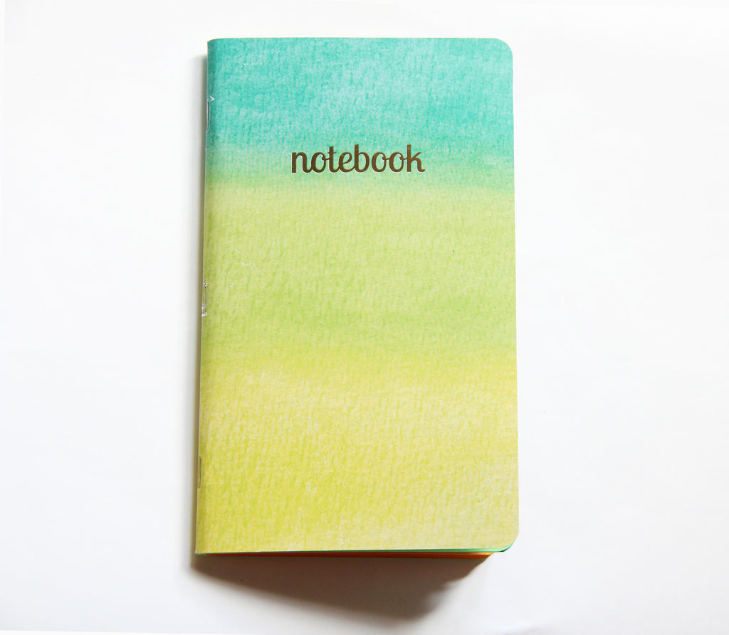 Medium Green Watercolor Gold Foil Notebook
