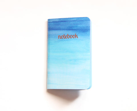 Mini Blue Watercolor Gold Foil Notebook