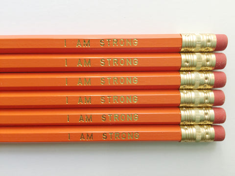 """I Am Strong"" Gold Foil Pencils – Set of 6"