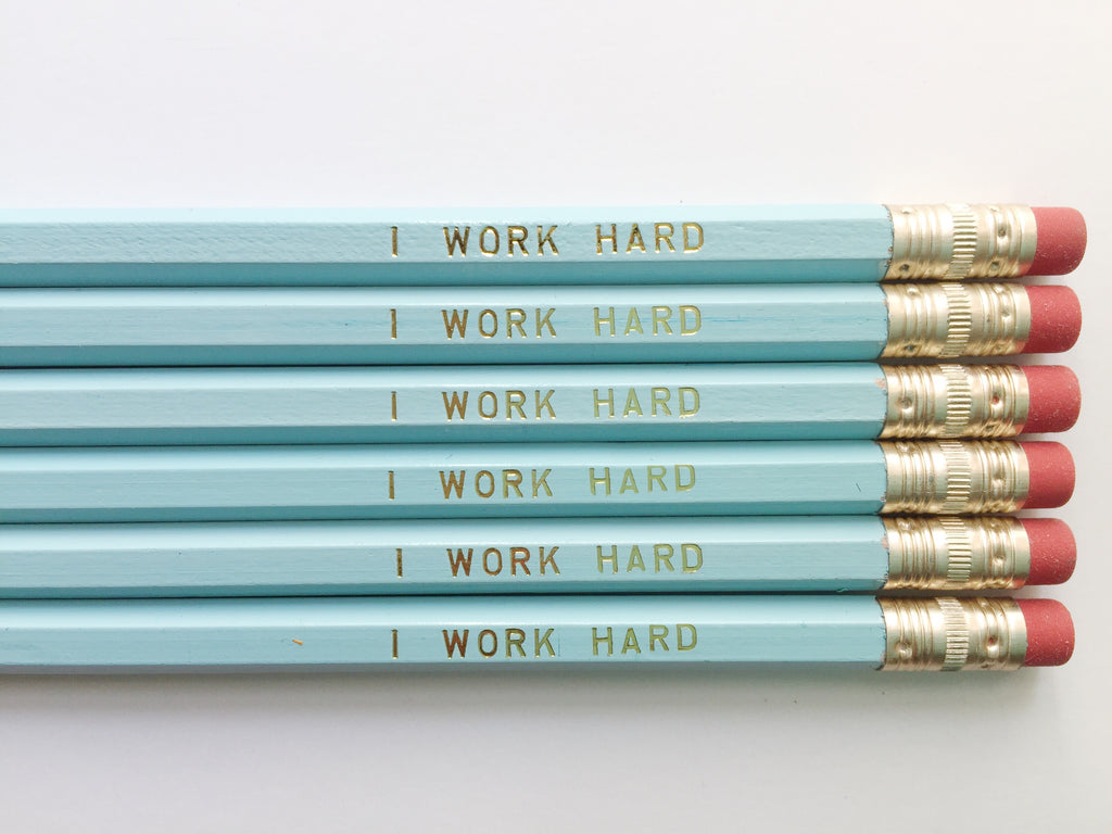 """I Work Hard"" Gold Foil Pencils – Set of 6"