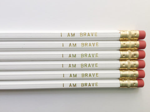 """I Am Brave"" Gold Foil Pencils – Set of 6"