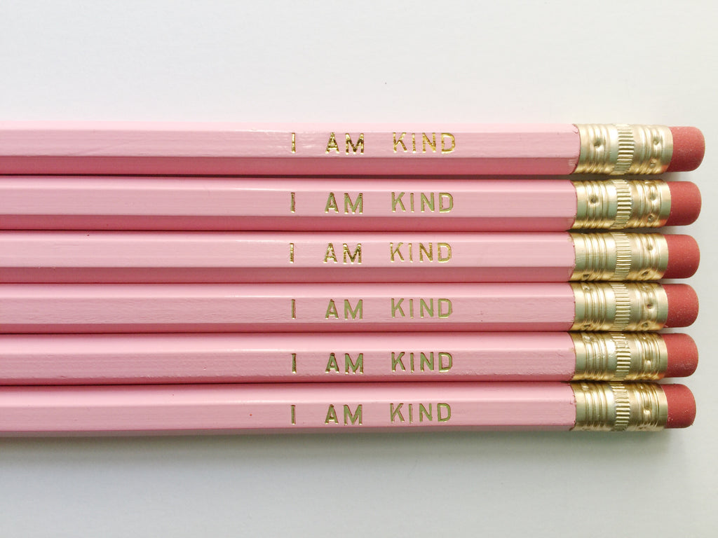 """I Am Kind"" Gold Foil Pencils – Set of 6"