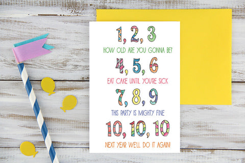 One, Two, Three Birthday Card