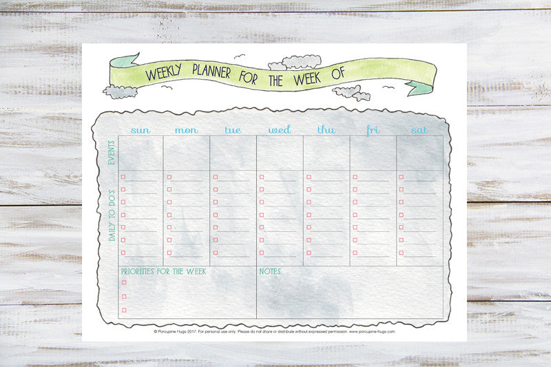 photo relating to Weekly Agenda Printable identified as Weekly Planner Printable - Porcupine Hugs