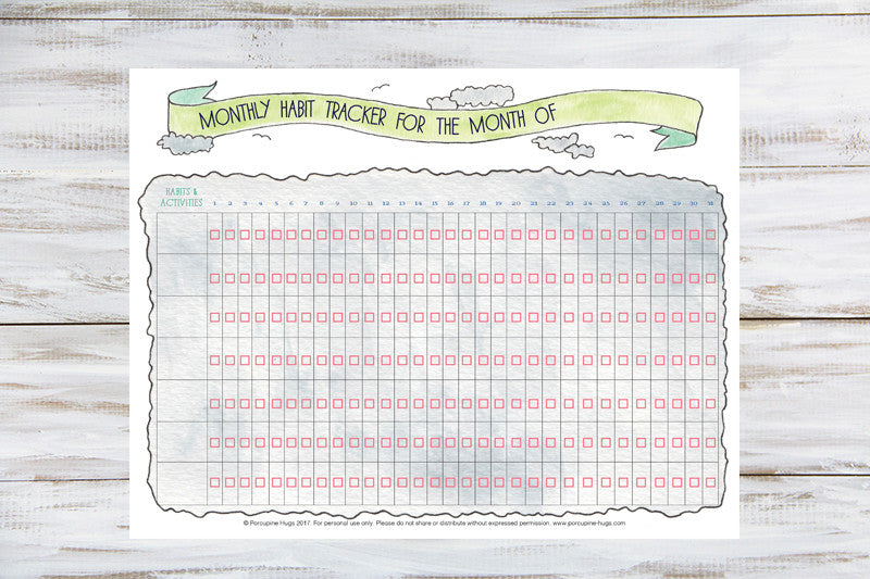 image about Habit Tracker Printable called Regular monthly Practice Tracker Printable - Porcupine Hugs