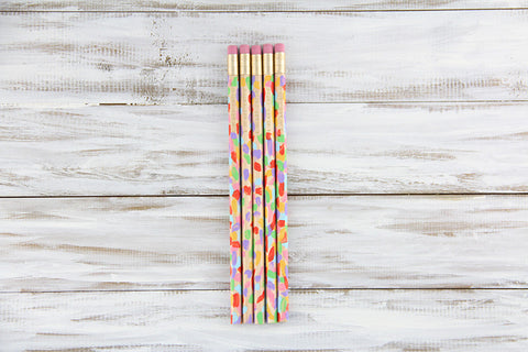 "Multicolored Hand-Painted Pencils - Gold Foil ""I Heart Paper"""