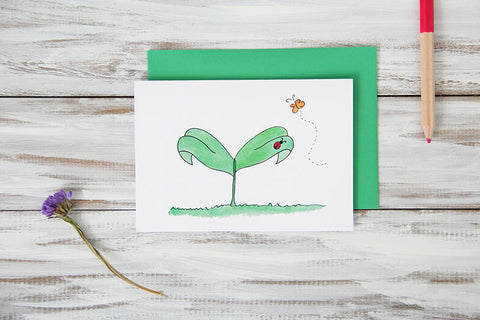 Folded Custom Ladybug Leaf Card