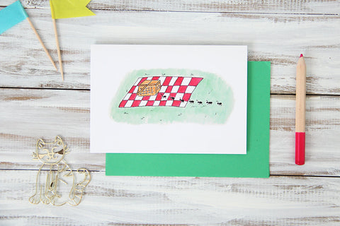 Folded Custom Picnic Ants Card