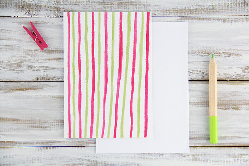 Folded Custom Watercolor Stripes Card