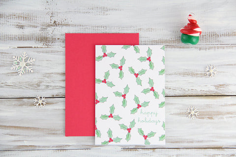 Folded Custom Hollies Holiday Card