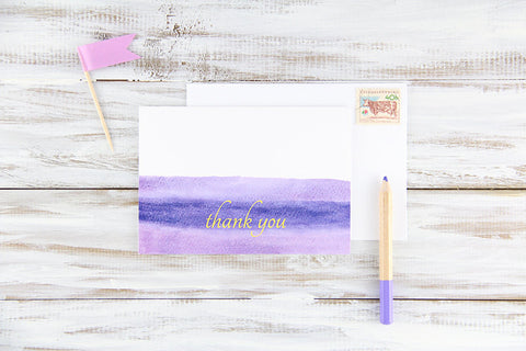 Purple Watercolors Thank You Card