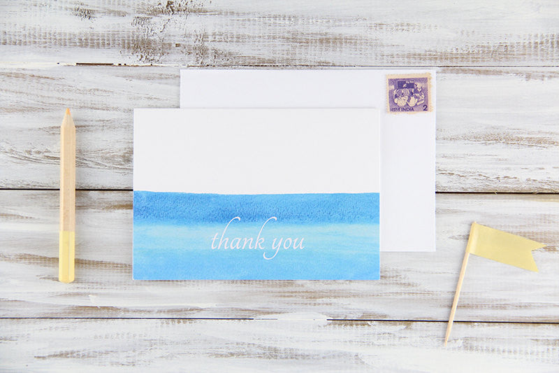 Blue Watercolors Thank You Card