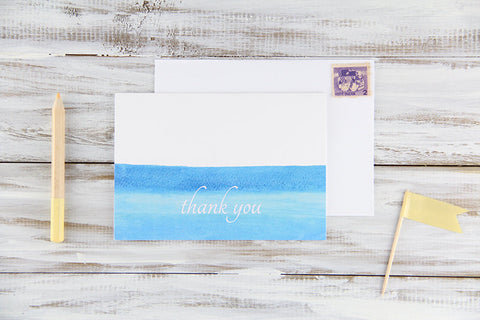 Folded Custom Blue Watercolors Thank You Card