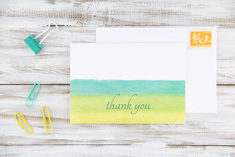 Folded Custom Green Watercolors Thank You Card