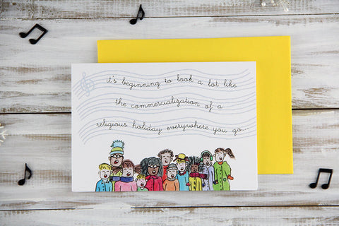 Folded Custom Cynical Carolers Holiday Card