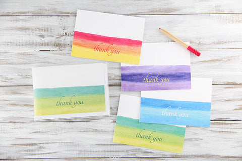 Watercolors Thank You Card Set