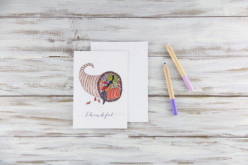 Folded Custom Cornucopia Thanksgiving Card