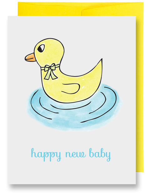 Yellow Ducky New Baby Card