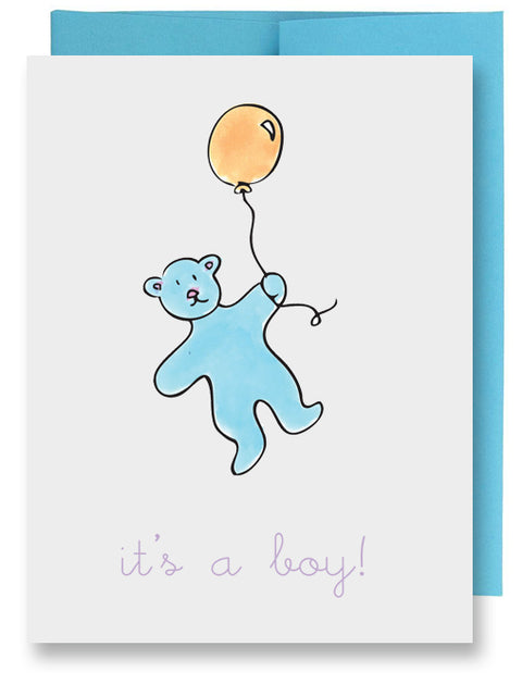Blue Bear New Baby Card