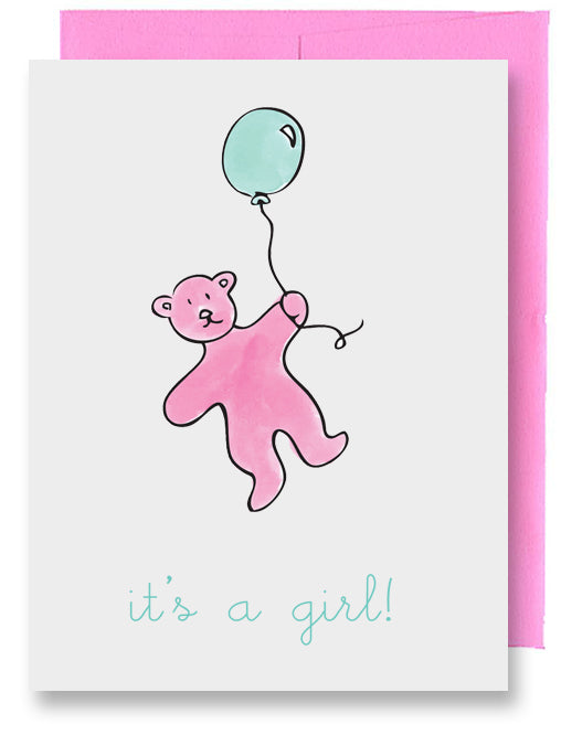 Pink Bear New Baby Card