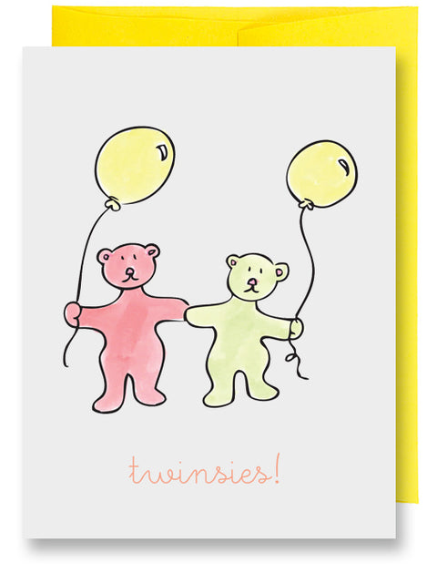 Twin Bears New Baby Card