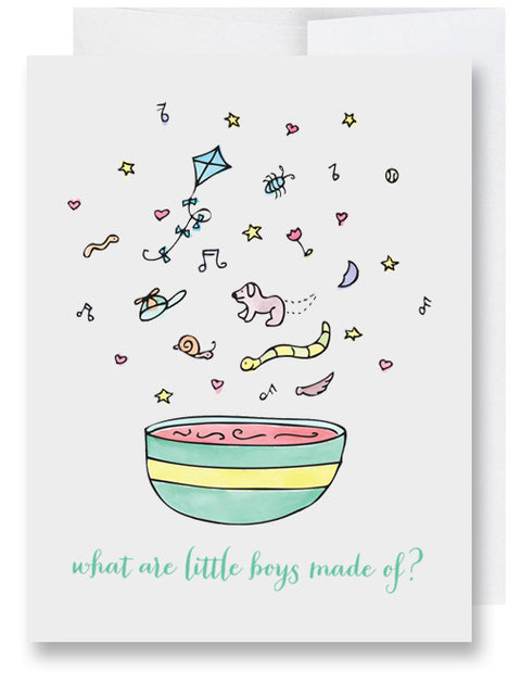 What Are Little Boys Made Of? New Baby Card