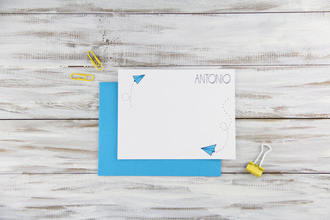 Custom Paper Planes Flat Notecards