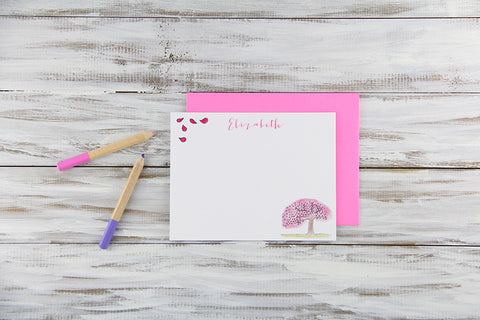 Custom Cherry Blossoms Flat Notecards