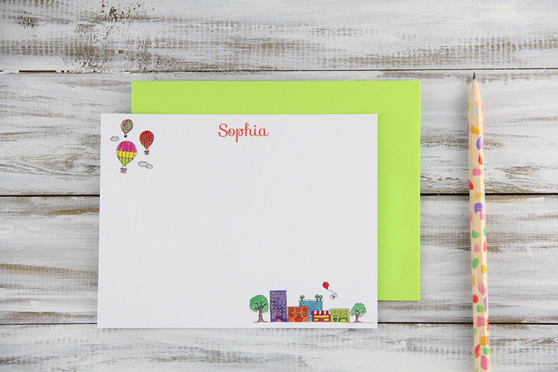 Custom Little Town Flat Notecards