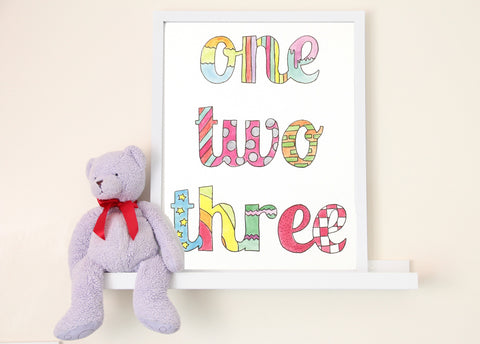 One Two Three Art Print
