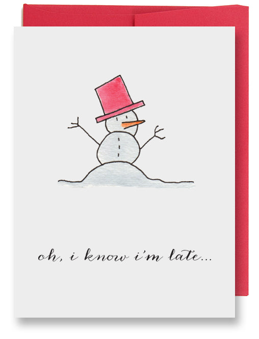 Melting Snowman Belated Holiday Card