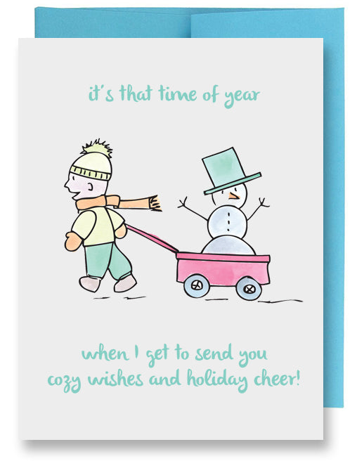 Boy with Snowman Holiday Card
