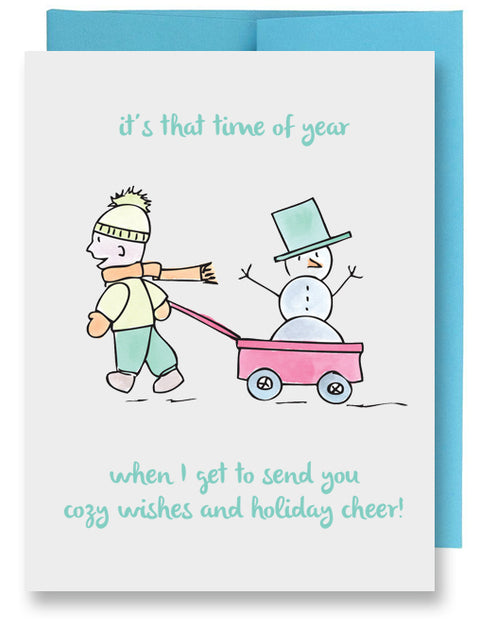 Folded Custom Boy with Snowman Holiday Card