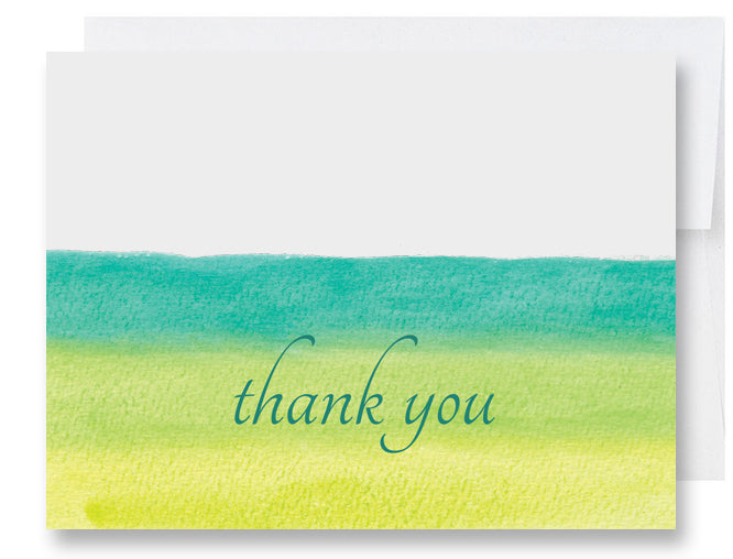 Green Watercolors Thank You Card