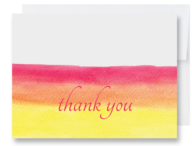 Folded Custom Orange Watercolors Thank You Card